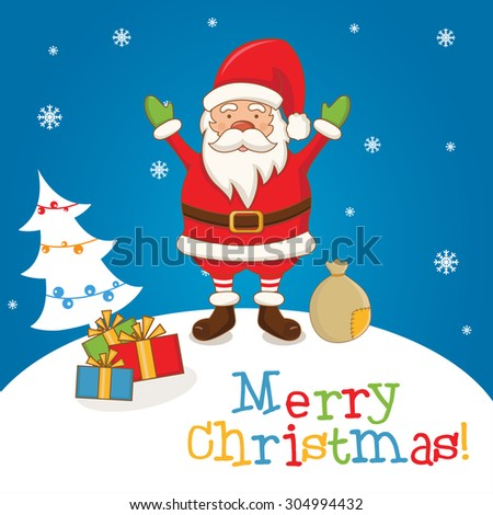 Cartoon character Santa Claus on a winter landscape. vector #304994432