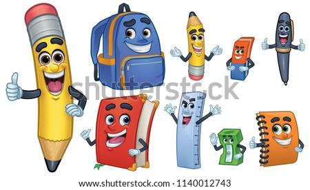 Cartoon Character school Stationery: Pencil, Book,  Spiral Notebook, Ballpoint, Sharpener, Ruler,  Eraser, School Bag_Vector Illustration EPS 10