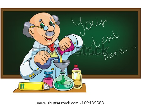 Character scientist in laboratory near the blackboard stock vector