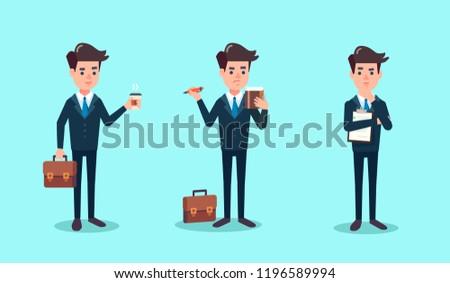 Cartoon character set. police officer, FBI agent or inspector, vector illustration flat design. detection of violations, investigation