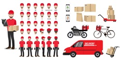 Cartoon character set with a delivery man in a red t-shirt for animation. Front, side, back, 3-4 view character. Vehicles, tools, and box set. Flat vector illustration.