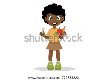 Cartoon character, The African girls like to eat vegetables and fruits., vector eps10
