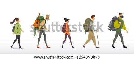 Cartoon character traveling people with backpacks on white background. Climbing on mountain. Vector illustration hiking and climbing
