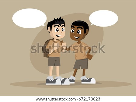 Cartoon character, Two boy Kids Talking., vector eps10