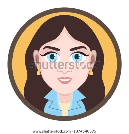 Stock Photo Cartoon character, vector drawing portrait girl, female smile facial emotion, woman avatar, icon, sticker. Cute girl brunette with big blue eyes cheerful in round frame, isolated on white background