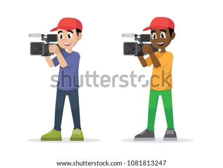 Cartoon character, Video cameraman.,vector eps10