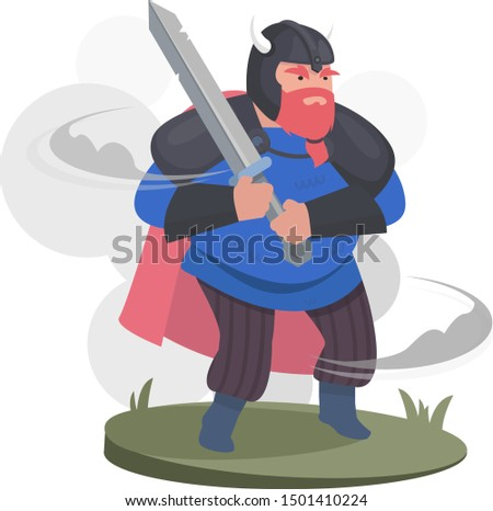 Cartoon Character: Viking warrior .Warrior in a helmet and in armor with a sword, flat design. Vector flat Illustration