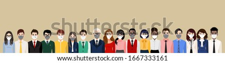 Cartoon character with people wearing face masks or medical masks, air pollution, contaminated air, world pollution, prevent disease, flu, gas mask, Corona virus. Flat vector illustration