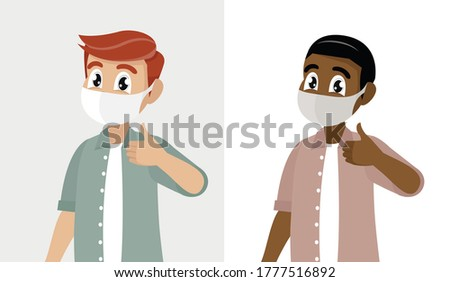 Cartoon character, Young man covering face with medical mask and showing thumbs up symbol. Person wearing hygienic facial protection and gesturing success sign.,vector eps10 Stock photo ©
