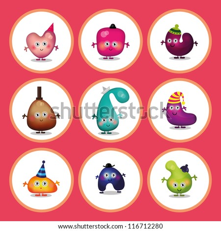 Cartoon characters, Alien collection, Children background  ideal for card design or wrapping paper design