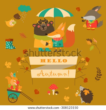 cartoon characters and autumn