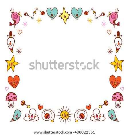 Cartoon Characters Border Frame Design Elements Stock ...  Shutterstock Border Design Free Download