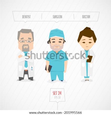 Cartoon characters dentist surgeon doctor vector illustration