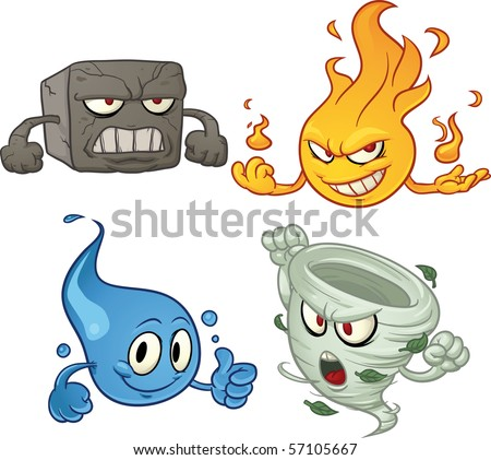 Cartoon characters depicting the four elements. Vector illustration with simple gradients. All elements on separate layers for easy editing.