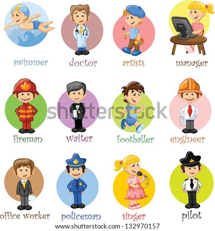 Cartoon characters manager chef policeman waiter singer doctor