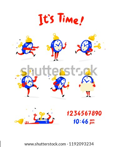 Cartoon characters of the alarm clock. Vector. A set of emotions and alarm clocks. The life of the clock. Illustrations isolated on white background. Icons for logo, print and website. It's time!