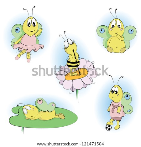 Cartoon Characters Set -  bee and butterflies