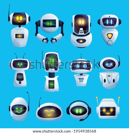 Cartoon chat bot and robots vector icons, artificial intelligence cyborg characters. Cute droids or chat bots futuristic robots heads with digital face screens, antenna and headset. Android technology