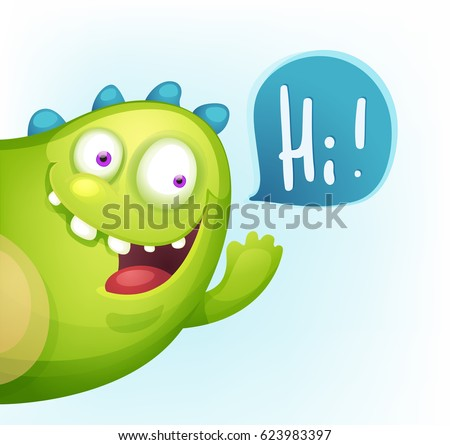 cartoon cheerful monster waving