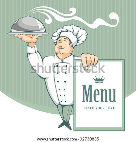 Cartoon chef carrying dinner plate with perfect meal. Menu background.