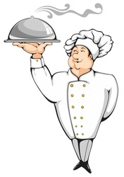 Cartoon chef carrying dinner plate with perfect meal. Professional element for your design.