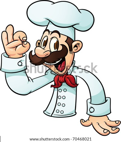 "Cartoon chef making the ""ok"" hand sign. Vector illustration with simple gradients. All in a single layer."