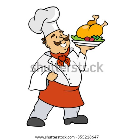 Cartoon Chef Vector Illustration isolated on white background
