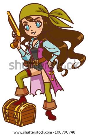 cartoon chibi pirate girl with