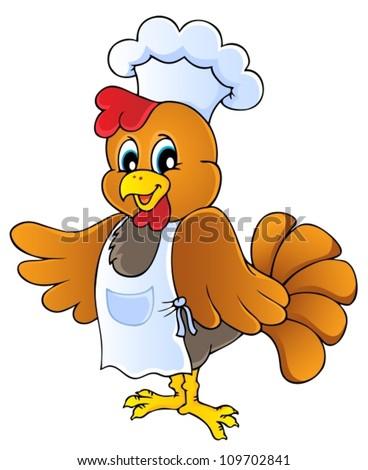 Cartoon chicken chef - vector illustration.
