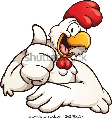 Cartoon chicken giving the thumbs up. Vector clip art illustration with simple gradients. All in a single layer.