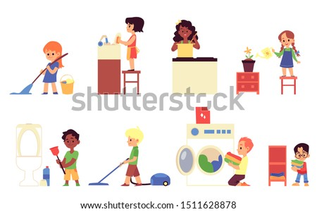 Cartoon children doing household chores - washing dishes, cooking, cleaning the floor and toilet, loading and folding laundry, Isolated flat set - vector illustration. Stock photo ©