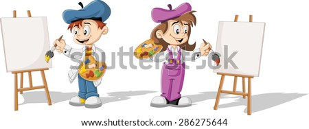 cartoon children painting blank