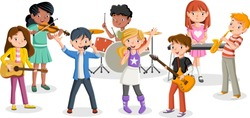 Cartoon children playing on a rock'n'roll band