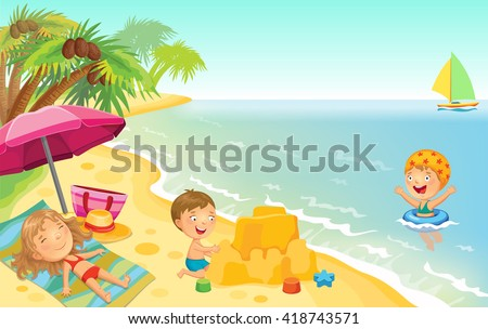 stock vector cartoon children playing on the beach with space for text 418743571 - Каталог — Фотообои «Для детской»