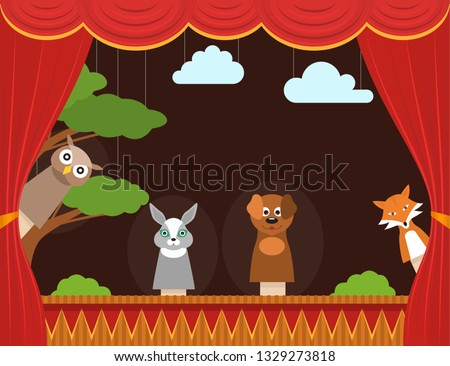 Cartoon Children Puppet Theater with Curtain Background Card Show, Entertainment or Performance Concept Flat Design. Vector illustration Foto stock ©