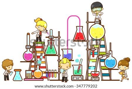 cartoon children scientist in