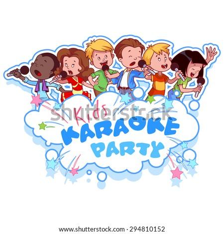cartoon children sing with a