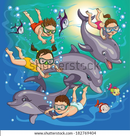 cartoon children swim with