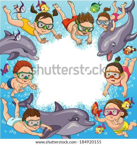 cartoon children swim with