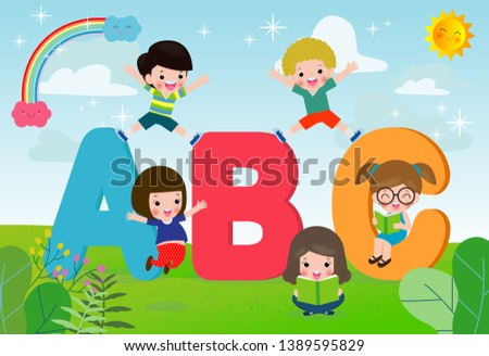 cartoon children with ABC letters, School kids with ABC, children with ABC letters,Vector Illustration