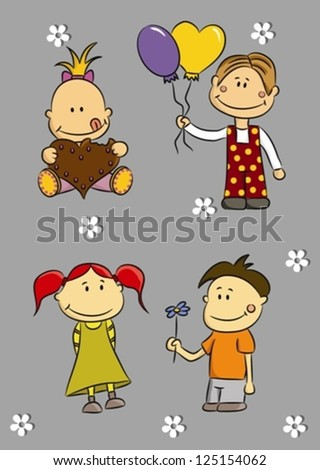 Cartoon children with balloons, flower and gingerbread (vector)