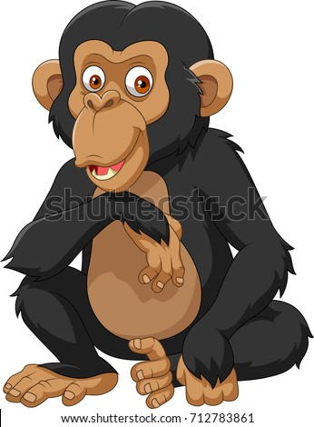 Cartoon chimpanzee isolated on white background
