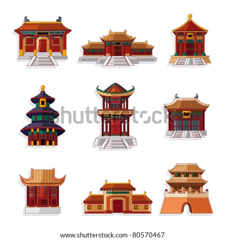 cartoon Chinese house icon set