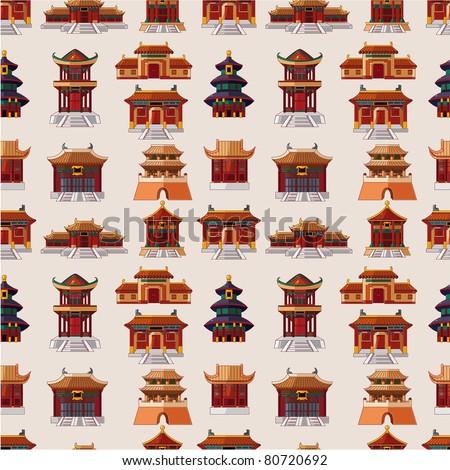 cartoon chinese house seamless