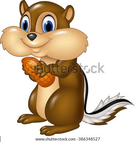 cartoon chipmunk holding peanut