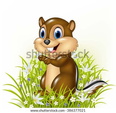 cartoon chipmunks on grass