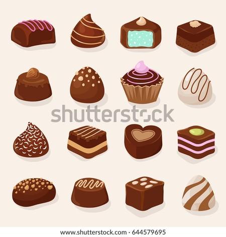 cartoon chocolate desserts and