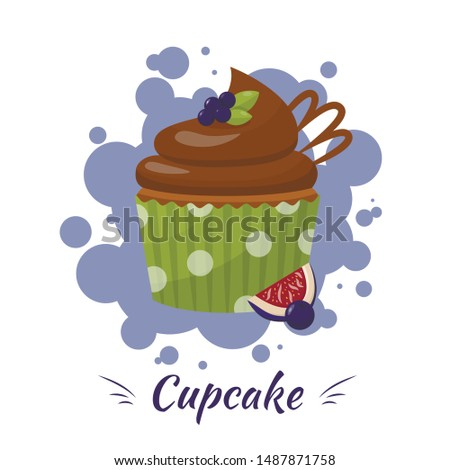 Cartoon Chocolate Glazed Cupcake in Green Package with Blueberry and Sliced Fig Ads. Flat Promotion Poster. Bakery, Confectionery or Homemade Product Presentation. Vector Logo Illustration