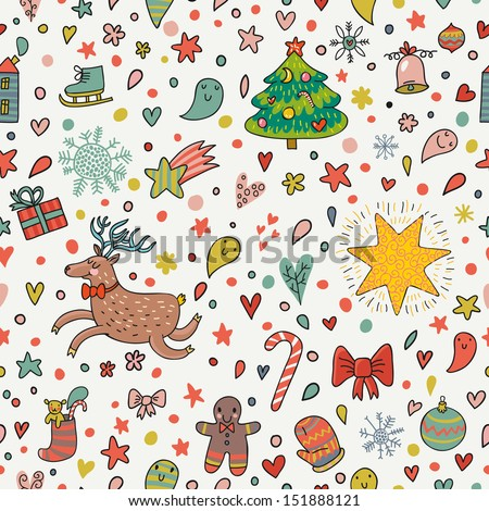 cartoon christmas and new year background in vector with deer bell bow fir