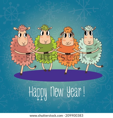 Cartoon Christmas and New Year vector card with 2015 symbol very cute sheep